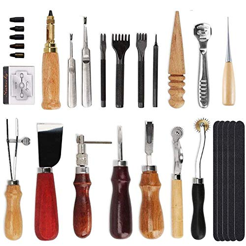 Kit di strumenti artigianali in pelle 18 pezzi, strumento fai-da-te in pelle per cucire a mano, set per timbrare e fare sella, cucire intaglio lavorando