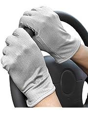 JIAHG Zomerhandschoenen met touchscreen, volledige vingers, katoen, fietshandschoenen, korte kanten handschoenen, antislip, anti-uv-bescherming, dunne zonwering, wanten voor autorijden, outdoor