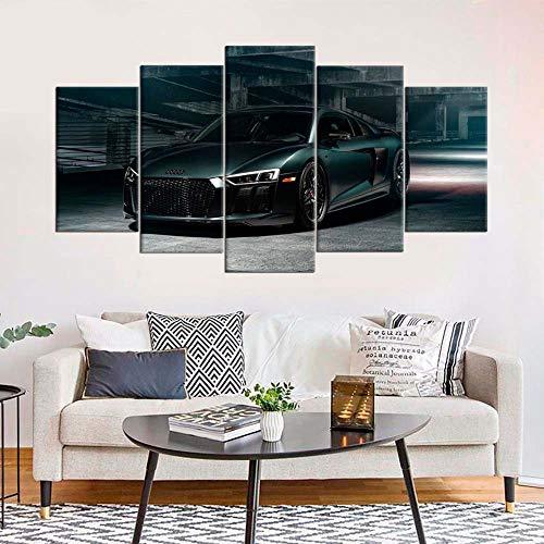 VKEXVDR Zuhause Dekoration Hängend Malerei 5 Stücke R8 Automobil Wandkunst Modular Segeltuch Gedruckt Bilder,für Home Wohnzimmer Büro Dekoration Geschenk