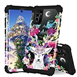 ZHOGTNEG Water Transfer Printing Series Case for Galaxy Note 10 Plus,3-in-1 Hybrid Design Silicone and PC Heavy Duty Protection Case W/Shockproof Bumper Cover for Galaxy Note 10 Plus - Spiritual Deer