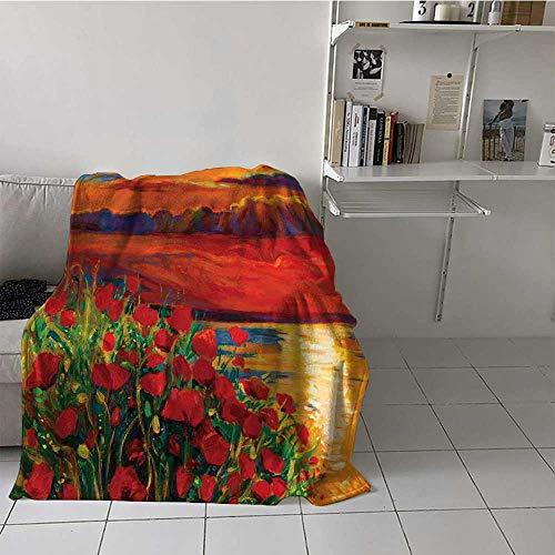 Manta de pintura al óleo vista escaleras de piedra en el jardín griego verde bosque imagen sofá manta térmica muy bonita y muy duradera naranja rojo verde, Microfibra, Multi 10, 180 cm x 230 cm