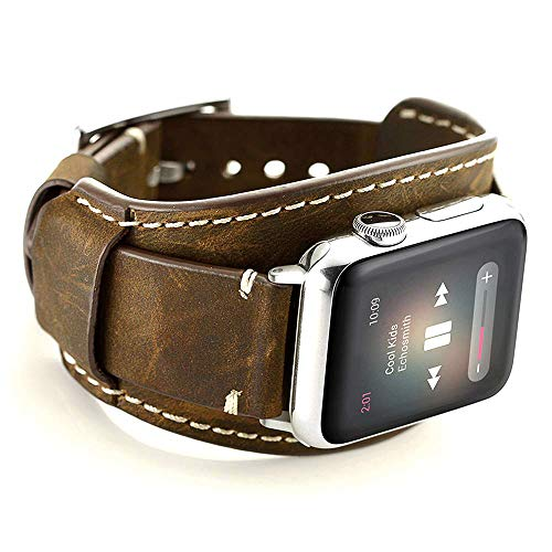 Leotop Compatible with Apple Watch Strap 40mm 38mm, Genuine Leather Band Cuff Crazy Horse Bracelet with Stainless Steel Buckle Men Women Compatible iWatch Series 6/5/4/3/2/1 SE (40/38mm, Coffee)