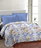 Bombay Dyeing Fair Mist Blue Geometric Double Bedsheet with 2 Pillow Cover Set (DSN-12)