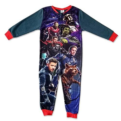 Marvel Avengers Kinder All in One Jungen Mädchen Kinder Fleece Overall Schlafanzug - Multi, EU 104-110