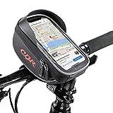 Komake Bike Bag Bike Pouch, Bike Frame Bags Cycling Pannier Top Tube Waterproof Bike Handlebar Bags, Bike Pouch Phone Holder, Bicycle Bag Touch Screen for Smart Phone up to 6''