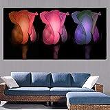 Pintura sin Marco Arte Tres Flores Color de Rosa nórdico Cartel romántico sobre Lienzo peonía Planta Amor decoraciónCGQ8260 52X87cm