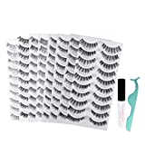 ORIORI 80 Pairs False Eyelashes, 8 Styles Wispies Lashes Reusable 3D Handmade Fake Eyelashes Set for Natural Look with Tweezers and Glue Adhesive