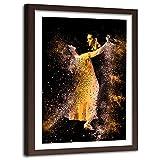Feeby Impresión Enmarcado marrón Abstracto Cuadro Baile Tango Pareja Dorado 40x60 cm