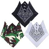 QUMAO Pack de 3 Pañuelos Bandanas de Modelo de Paisley para Cuello/Cabeza Multicolor Múltiple 100% Algodón para Mujer y Hombre (Pack de 3; Negro&blanco&camuflaje)