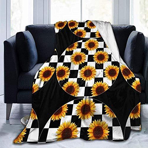 Mantas de tamaño completo | Elegante tablero de ajedrez de girasol duradero y plegable, impreso ultra suave, manta de microfibra de forro polar, manta de cama de 100 x 150 cm