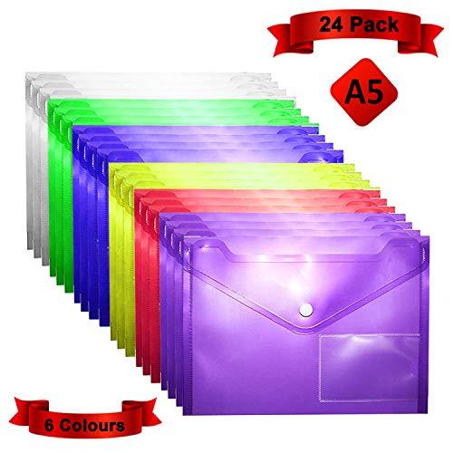 A5 Plastic Popper Portemonnee-mappen, Documentbestanden, Drukknopenvelop, Polyfile-papieren Portemonnee, Doorzichtige Diverse Kleuren met ID-kaartvenster voor Certificaten, Bonnen en Vouchers (24-pak)