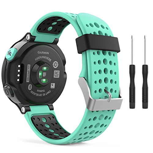 MoKo Armband für Garmin Forerunner 235/235 Lite / 220/230 / 620/630 / 735 - Silikon Ersatz-Uhrenarmband Uhrenarmband Einstellbar Armband Replacement Wechselarmband, Mint Grün/Schwarz