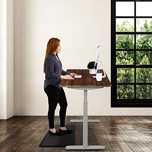 "Seville Classics AIRLIFT Pro S3 54"" Solid-Top Commercial-Grade Electric Adjustable Standing Desk (51.4"" Max Height) Table - Gray/Walnut"