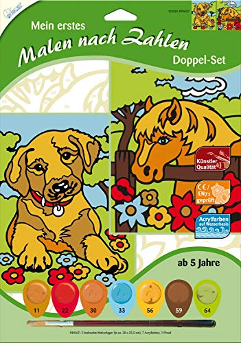 MAMMUT 102001 - Mein erstes Malen nach Zahlen, Tiermotive, Hund & Pferd, Doppelpack, Komplettset mit 2 bedruckten Malvorlagen, 7 Acrylfarben und Pinsel, Malset für Kinder ab 5 Jahre