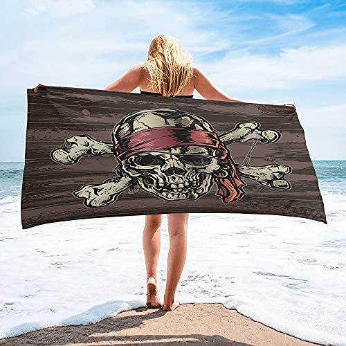 Toalla de Playa-Pirate Skull Toalla de Playa Artículos para el hogar Accesorios de baño Toalla de baño de Microfibra Esterilla de Yoga (70x140cm)