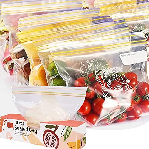 FYY 15 Sacchetti per Alimenti Richiudibili,Sacchetti Freezer,Fondo Espandibile,Durevoli,Sacchetti cerniera Sacchetti per conservazione per congelatore per snack,frutta,verdura,viaggi,carne 27x27cm(L)