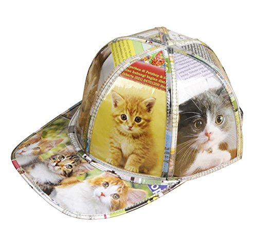 Cap hat for cat lover - FREE SHIPPING - upcycled style eco friendly design vegan recycled handmade art salvaged unique hats gift gifts tracker baseball kittens print cats kitten pet fan trainer prints