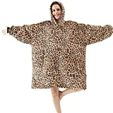 Oversized Blanket Hoodie, Soft Sherpa Plush Hoodie Blanket Sweatshirt for Adults Women Men, Super Warm and Cozy Blanket Hoodie, One Size Fits All Thick Flannel Blanket with Front Pocket, Leopard