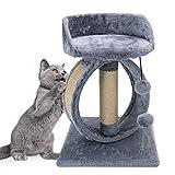 Nobleza Árboles para Gatos,Rascador para Gato de Sisal Natural,Juguetes de Actividades para Gatos,con Juguetes de Peluche,35 * 35 * 48cm,Gris