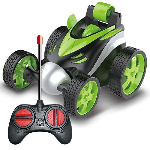BRAND SET Vehículo de Control Remoto Coche del Truco de Xuatro Ruedas, Carro de Control Remoto, Rotación del Balanceo de 360 Grados, Seguro y Duradero, Regalo de Cumpleaños para Niños-Verde