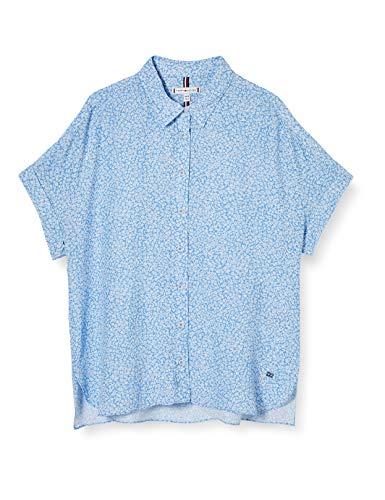 Tommy Hilfiger Raelin Shirt SS Camisa, Azul (Ditsy Floral Light Iris Blue), 36 para Mujer