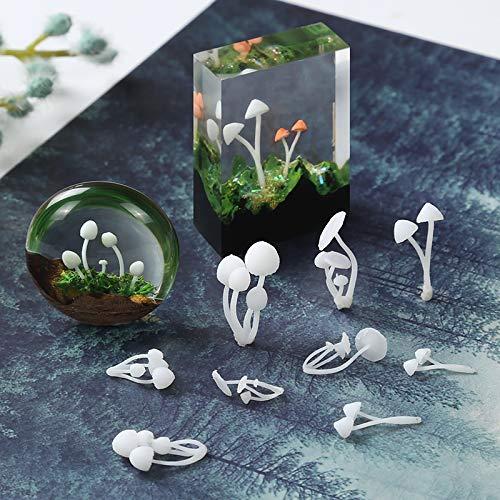 Yalulu 20pcs 3D Micro Landscape Mini Mushroom Film DIY Craft Nail Handmade Resin Jewelry UV Epoxy Jewerly Filling Molds Tool