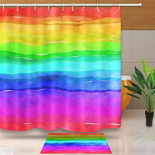 NEWTOO Art Home Decor Shower Curtain Set, Watercolor Rainbow Wave Lines Pattern Art, Bathroom Accessories, Fade-Resistant Fabric Set with Hooks, 72 X 72 Inches, LHNT046