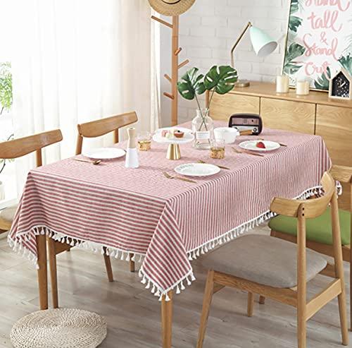 Mantel de algodón, borlas de Rayas Rosadas y Blancas Decoración Rectángulo Mantel, Mantel de Lino, tapetes de Escritorio para Exteriores, Fiesta en la cocina140 * 200cm
