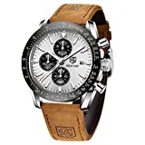 ⌚DESIGN ELEGANTE: BY BENYAR offre una gamma di orologi da polso di design classico appositamente realizzati per uomo. L'orologio è dotato di vetro resistente al 100% e quadrante bianca. Il cinturino in vera pelle con larghezza 2,2 cm, lunghezza 22 cm...