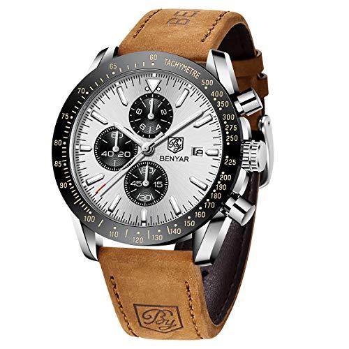 BENYAR Herren Uhren Chronograph Analog Quarzuhr Lederarmband weiß Zifferblatt Mode Sport Wasserdicht Armbanduhr Elegantes Geschenk für männer
