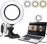 Luce ad Anello per selfie da 6,3'con montaggio a morsetto per videoconferenze, luce per webcam con 3 modalità di illuminazione e dimmerabile a 10 livelli per trucco,YouTube,TIK Tok,Video blog (Arco)