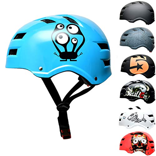 Skullcap® Skaterhelm Erwachsene hellblau Monster Blue - Fahrradhelm Damen Herren ab 14 Jahre Größe M 55-58 cm - Scoot and Ride Helmet Adult Light Blue - Skater Helm für BMX Inliner Fahrrad Skateboard