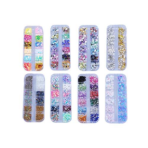 SUPVOX 8 boîtes Nail Art Strass kit Cristaux de Ongles avec 12 grilles Box Nail Art Strass Dos Plat Oeil de Cheval gemmes pour Bricolage Art Nail Art Fournitures de décoration