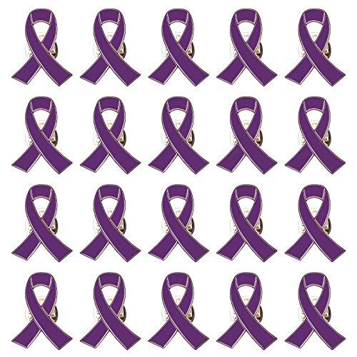 """Preisvergleich Produktbild WANDIC Anstecknadel mit violettem Band,  Aufschrift """"Domestic Violence,  Lupus,  Alzheimers,  Pankreatischer Krebs,  mit Box,  2"""