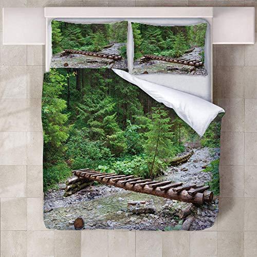 GQYJMSJS Funda Nórdica 220 x 240 cm Puente de Troncos forestales - Fundas Edredón Nórdico 220x240cm con 2 Funda de Almohada 50x75cm - Microfibra Muy Suave Hipoalergénica Transpirable