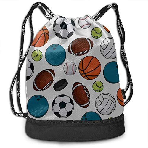 OKIJH Drawstring Bag with Pockets Football Outdoor Sport Supply Gym Drawstring Bags Backpack Sports String Bundle Backpack for Sport with Shoe Pocket Gym Tote Bag for Women