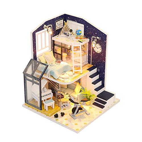 ZIXERN Casa De Mu?ecasCasa De Mu?ecas De Bricolaje Estrella Brillante con Cubierta Miniatura Mobiliario Música Luz Regalo Decoración JuguetesInicio Juguetes Creativos