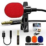 Microfono Solapa Profesional con Adaptador Tipo C para Grabación/Youtube/Entrevista, OmnidireccionalMicrófono Lavalier Manos Libres para Smartphone/PC/Laptop