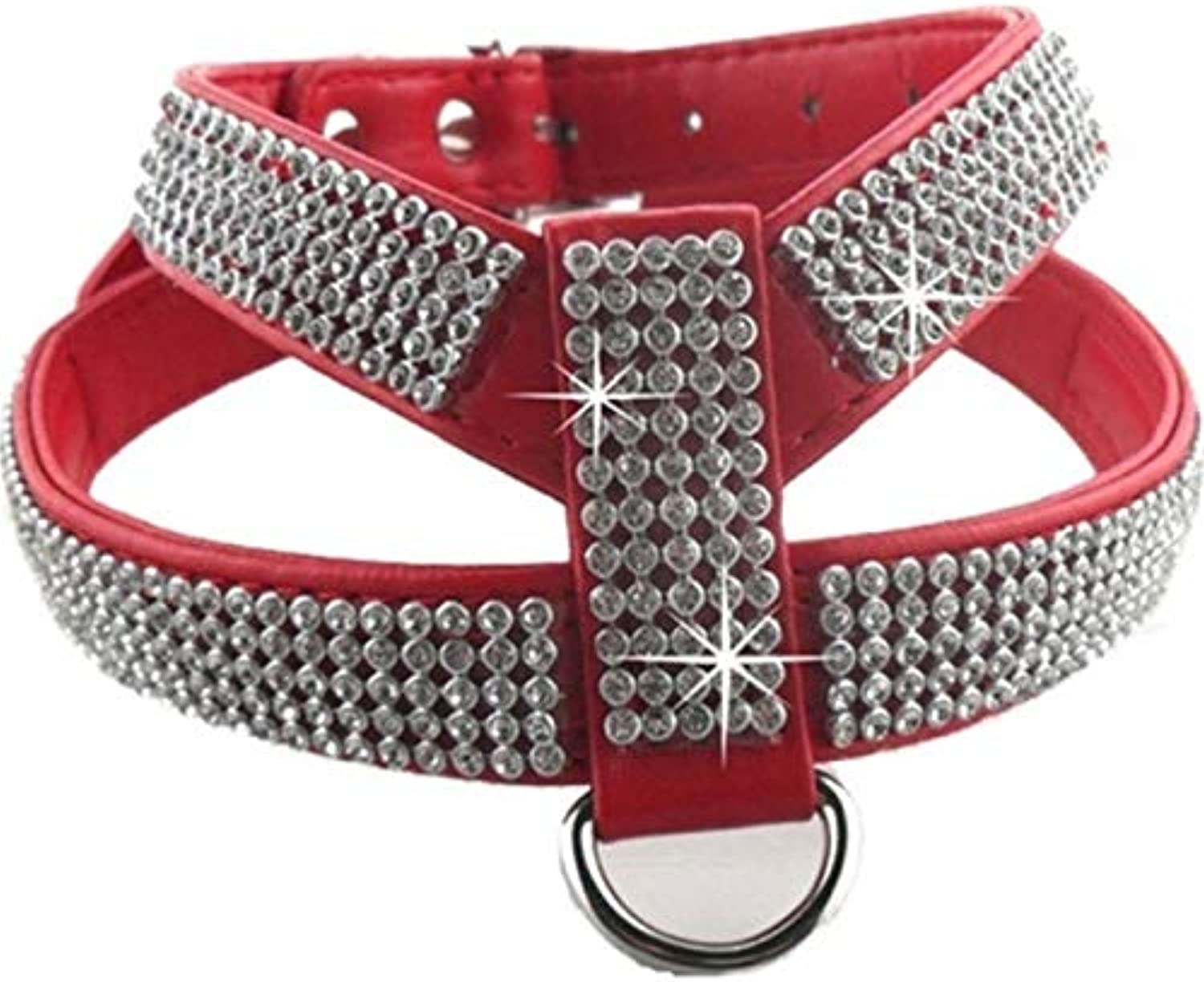 Dog Collar Harness Crystal Diamond Pet PU Leather for Pet Adjustable Bling Rhinestone Collar Pet Products,Red,L