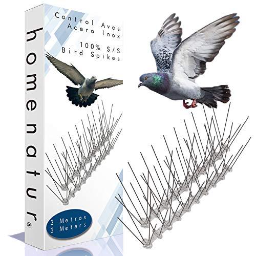 homenatur Pinchos Antipalomas Acero Inoxidable - 3 Metros – Pack 12 Hileras de 25 cm – Púas Repelentes de Aves – Kit Ahuyenta Pájaros – Sistema Espanta Palomas para Control de Plagas Jardín