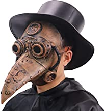 Costribe Gothic Steampunk Plague Doctor Mask Long Nose Bird Beak Mask for Halloween Party Costume (Copper)