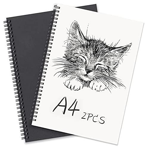 Bloc de Notas en Espiral A4, 2Pcs Negro Cuadernos de Papel Kraft en Blanco, Libreta de Bocetos 100 Páginas, Perfecto para Dibujo Artístico, Notas de Aula, Diario de Viaje.
