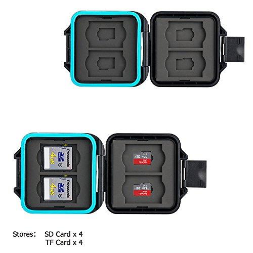 JJC Estuche Impermeable para tarjetas de memorias: 4 x tarjetas Micro SD SDHC SDXC + 4 x tarjetas SD SDHC SDXC con Acollador y Mosquetón