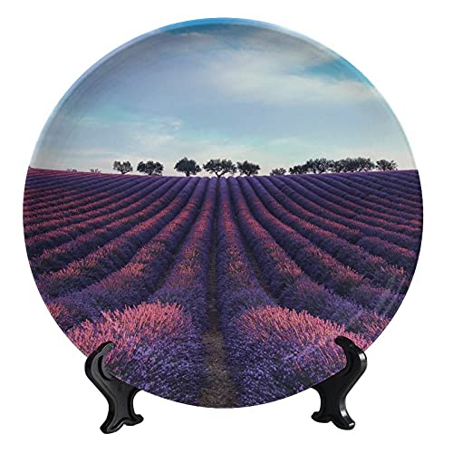 Customized Ceramic Dinner Plate Lavender Landscape Sky Porcelain Ceramic Plate Decor Accessory for Dining, Parties, Wedding 8 inch