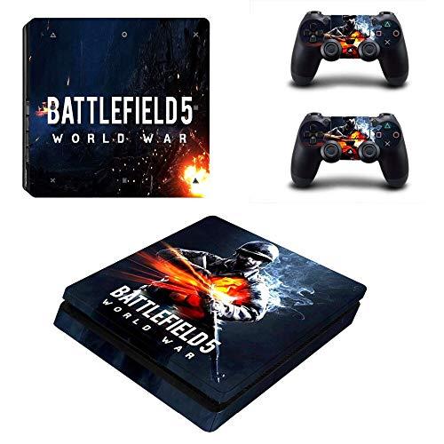 WANGPENG Battlefield 5 Ps4 Slim Skin Pegatina para Playstation 4 Consola Y Controlador Ps4 Slim Skins Pegatinas Vinilo Accesorio