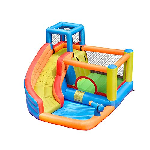 Zhihao Aufblasbare Bounce House, Hüpfburg mit Luftgebläse, Spiel-Haus mit aufblasbaren Kinder-Rutsche, Hüpfburg Schlauchboot mit Wasserrutsche Pool Bouncing Zone Klettern for Kinder mit Blower