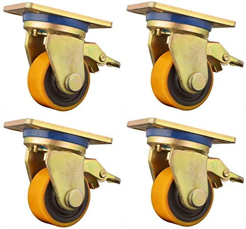 LXM 4 Pieces Heavy Iron Core Universal Furniture Casters,Flatbed Truck Trolley Industry Castor Wheels,Replace Accessories With Brake (Color : C, Size : 3in)