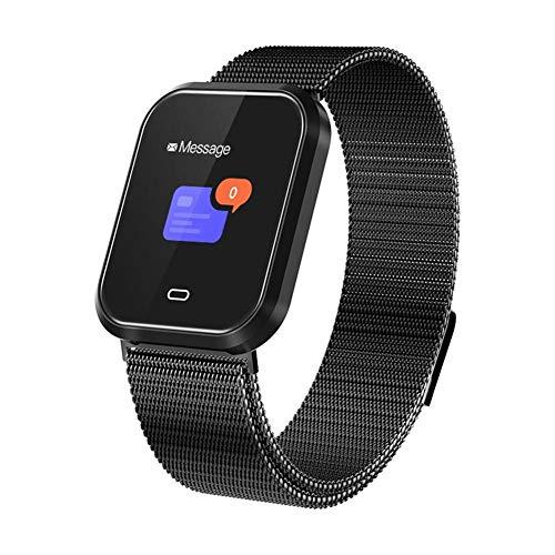 Febelle Reloj Inteligente Pulsera IP67 Impermeable Gimnasio Presión Arterial Oxígeno Ritmo Cardíaco Deportes Rastreador Compatible Android iOS Estilo de Acero Negro