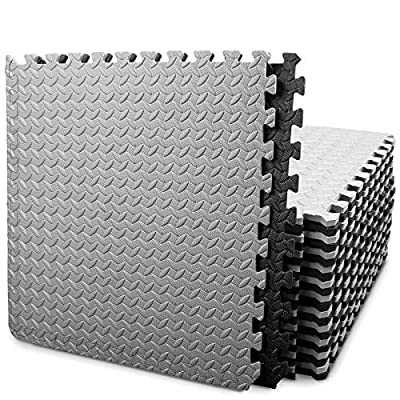 BEAUTYOVO Puzzle Exercise Mat with 24 Tiles Interlocking Foam Mats, 24'' x 24'', 0.4'' Thick EVA Foam Floor Tiles, Protective Flooring Mats Interlocking for Gym Equipment and Cushion for Workouts