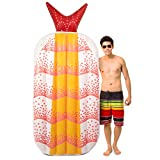 Sol Coastal Shrimp Sushi Inflatable Pool Float | Luxury Jumbo 6ft Shrimp Raft Perfect for Kids and Adults, Lounge and Sunbathe in Comfort and Style